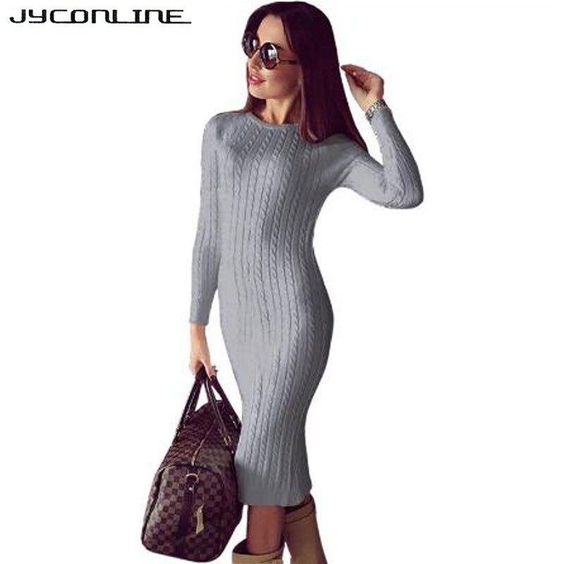 JYConline Winter Bodycon Knitted Dress Women Sweater Dress Long Sleeve Midi Dress Sexy Split Vestidos Elastic Party Club Dresses цена