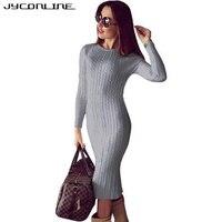 JYConline Winter Bodycon Knitted Dress Women Sweater Dress Long Sleeve Midi Dress Sexy Split Vestidos Elastic Party Club Dresses