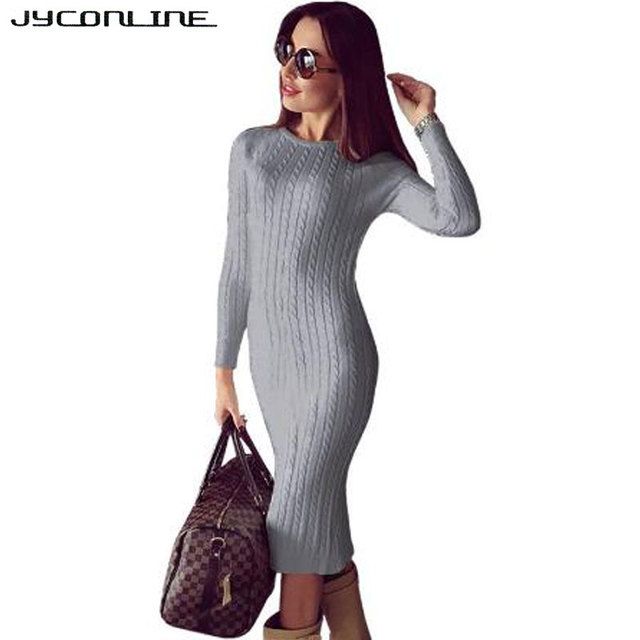 cd5f3262b15e JYConline Winter Bodycon Knitted Dress Women Sweater Dress Long Sleeve Midi  Dress Sexy Split Vestidos Elastic Party Club Dresses