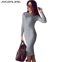 JYConline Winter Bodycon Knitted Dress Women Long Sleeve Midi Dress Sexy Twisted Back Slit Sweater Dress