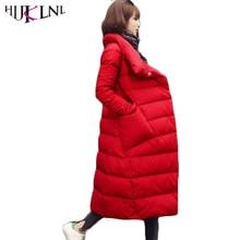 HIJKLNL 2017 Mulher do Inverno Para Baixo Mulheres Jaqueta Engrossado Para Baixo Casaco Para A Mulher Quente Casaco de Gola Solta Longa X-Parkas HB156