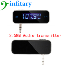 Car Audio Transmitter 3.5mm plug transmit tunes from phone to car music player for iPhone iPad iPod Samsung free shipping
