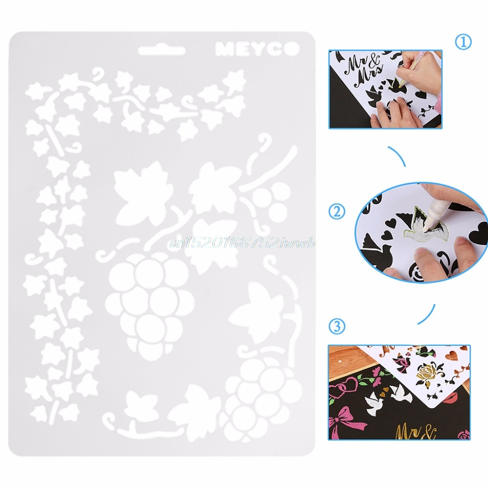 Reusable Stencil Airbrush Painting Art DIY Home Decor Scrapbooking Album Craft #T026#