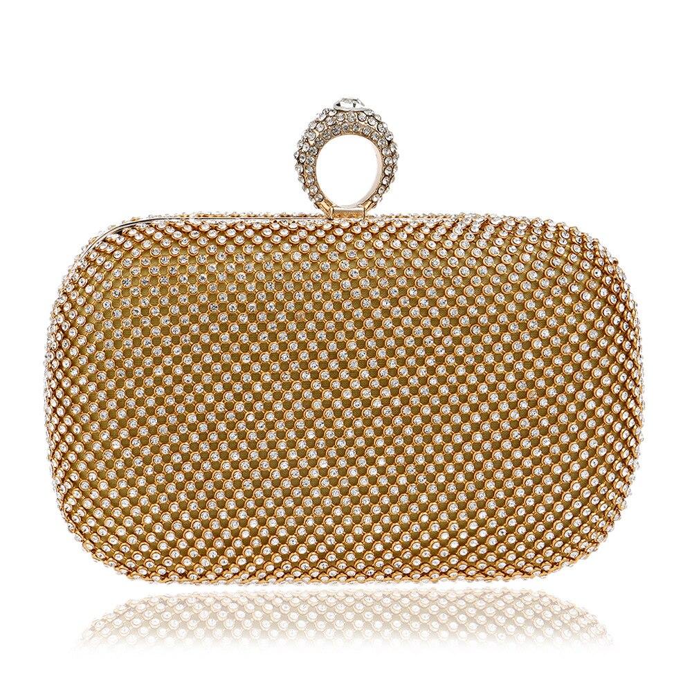 Luxury Shiny Diamond Finger Evening Bag Women Purse Fashion Crystal Rhinestone Chain Clutches Banquet Socialite Ladies Handbag