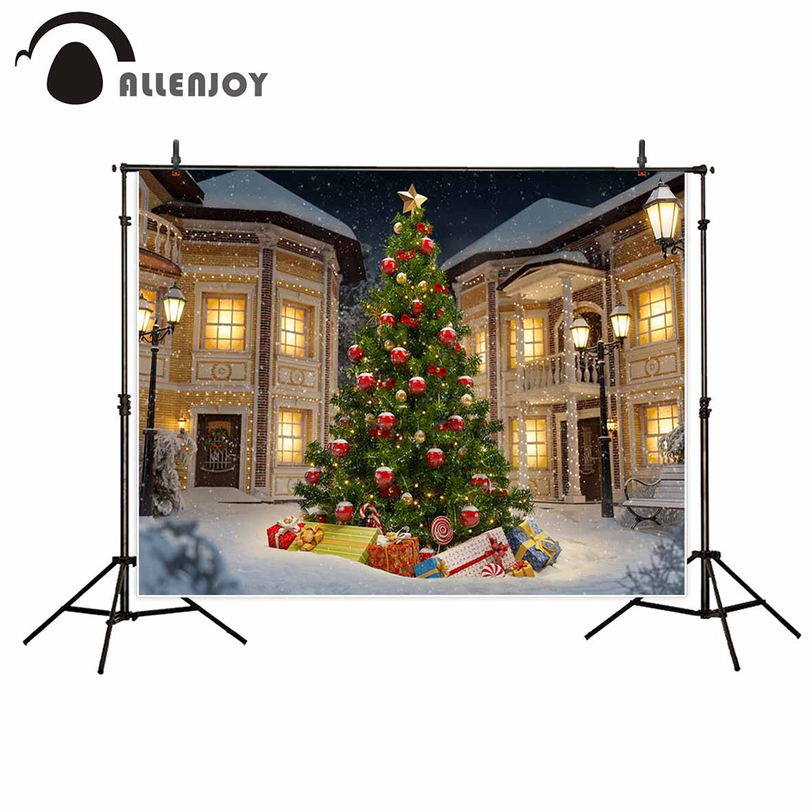 Allenjoy Christmas tree house gifts winter snow outdoors backdrop for baby for a photo shoot fotografia Photophone mary pope osborne magic tree house 43 leprechaun in late winter