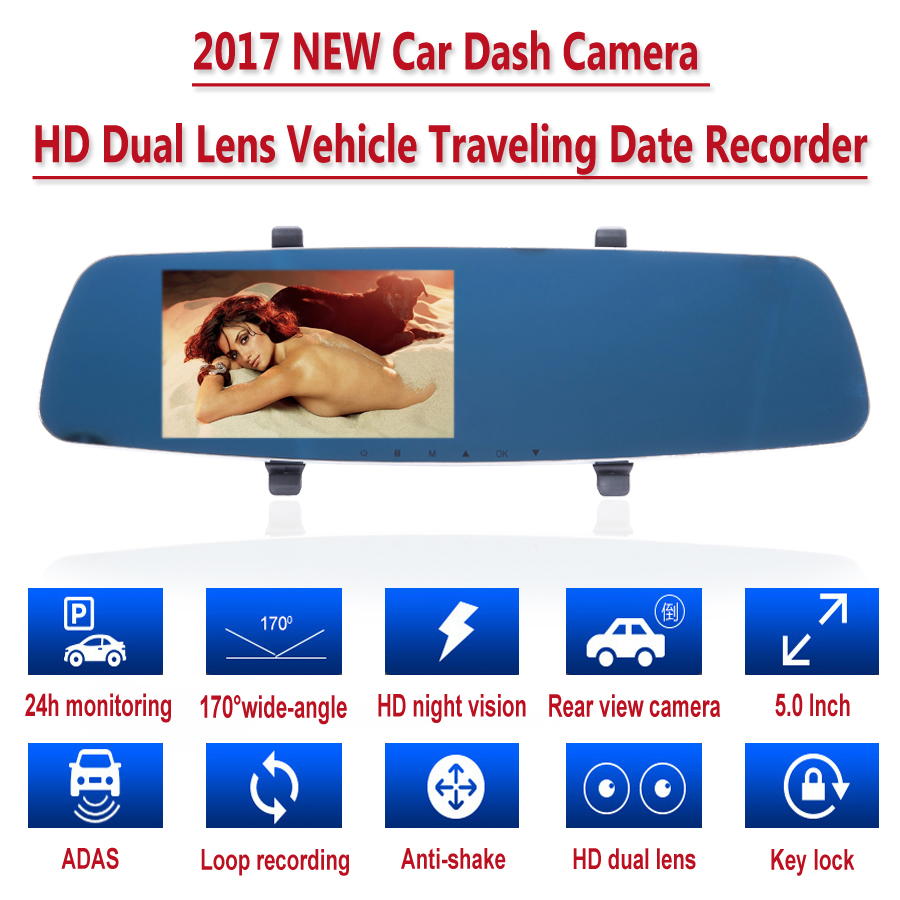 Panlelo Dash Cam Car DVR Camera Full HD 1080P Dual Lens Video Recorder Night vision Parking Monitor Auto Camera Motion Detection