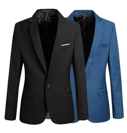 Nueva Llegada Solo Botón Blazers Ocio Hombres 2016 de Moda de Corea Slim Fit Casual Blazer Azul Marino Rojo Ropa M-XXL