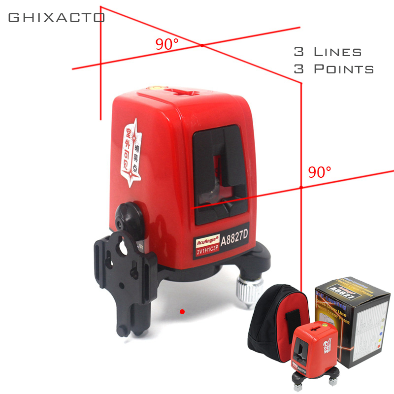 GHIXACTO A8827D 3 Lines 3 points Laser Level 360degree Self-leveling Cross Laser Levels Red Line Measuring Tool for ConstructionGHIXACTO A8827D 3 Lines 3 points Laser Level 360degree Self-leveling Cross Laser Levels Red Line Measuring Tool for Construction