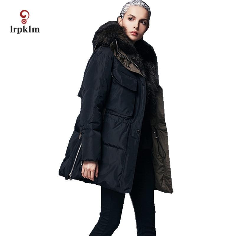 2017 nueva moda de alta calidad mujeres invierno Abrigos de plumas Gran Lujo Piel auténtica caliente femenina cuello pato Abrigos de plumas Delgado pq126