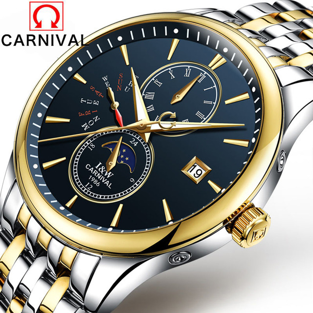 Carnival Mens Moon phases Tourbillon Automatic mechanical Watches Men Top Brand Luxury Dive 30M Business full steel watch Man