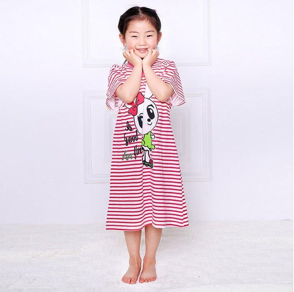 Girl Kids Pyjama Nightie Dress Cartoon Sleep Wear 2017 Hot Sale Print Nightgown Pajama Nightie Cute Princess Dress 100% Cotton