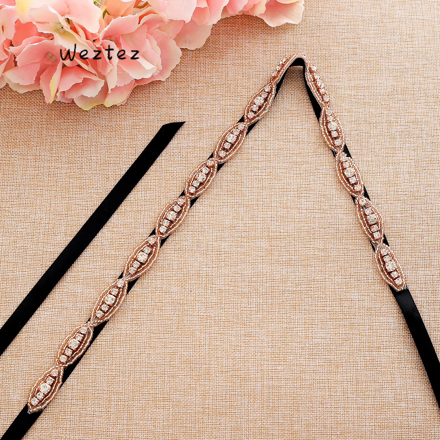 Women Bridal Accessories Rhinestone Wedding dress belt Thin Ribbon Crystal belt Handmade Elegant Evening Dress  L179RG