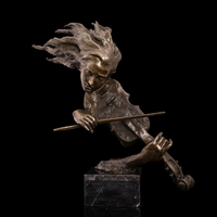 ATLIE BRONZES Delicate Art and Crafts Sculpture European Household Decor Bronze Violinist Orchestra Bust Statue Violin Figurines