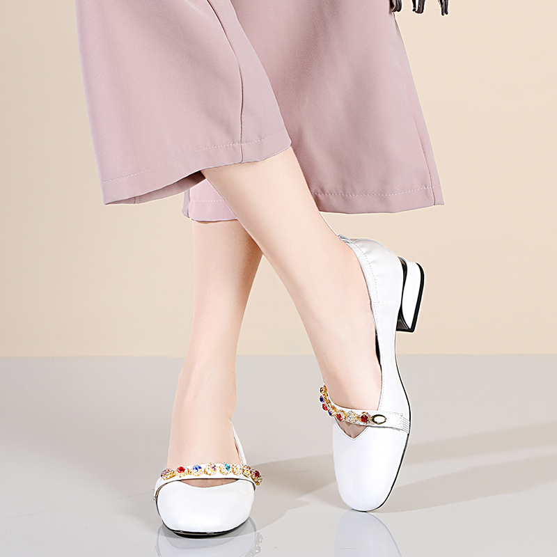 Confortable En Femmes Cristal Bout Talons Cuir Femme 100 Les Bas blanc Chaussures Sur gris Carré Glissement Robe Vache Marron 5qPnn8xZ