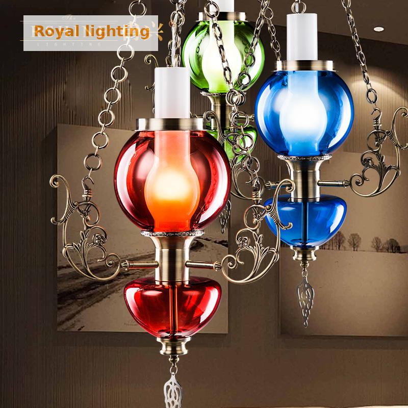 1 piece Magic glass modern led lighting chandelier Restaurant dining Lamp red green blue Chandelier Bar Coffee light led Lustres