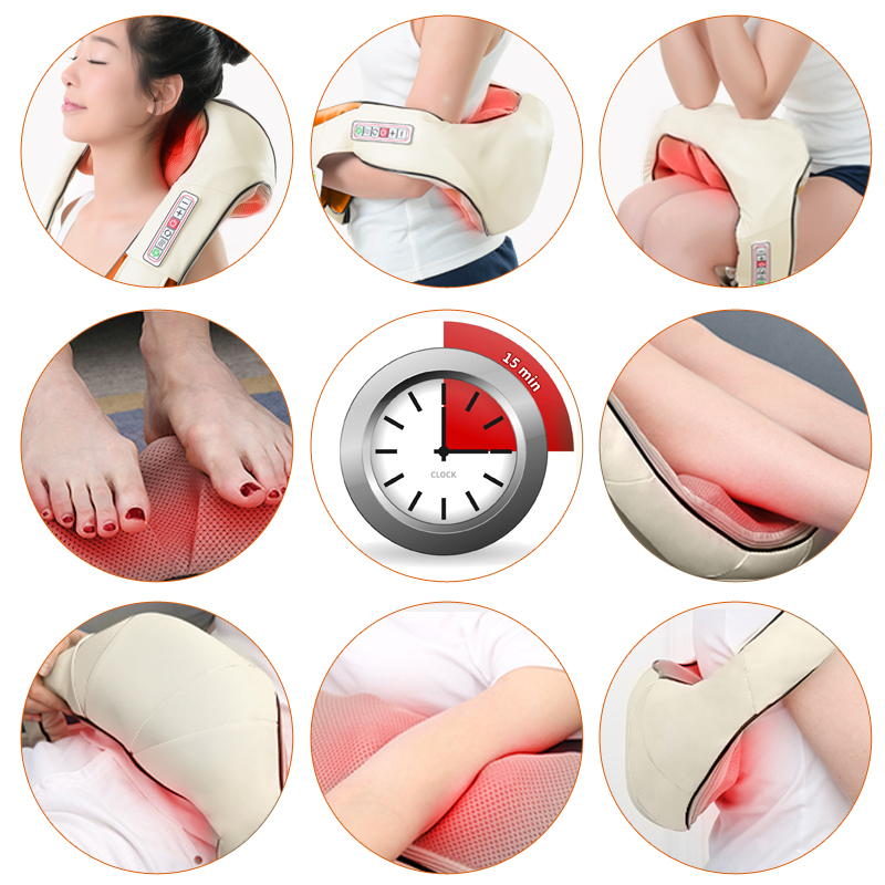 (with Gift Box) KLASVSA Electric Heating Neck Massager Car Home Infrared KneadingTherapy Ache Shoulder Back Massageador Relax 3