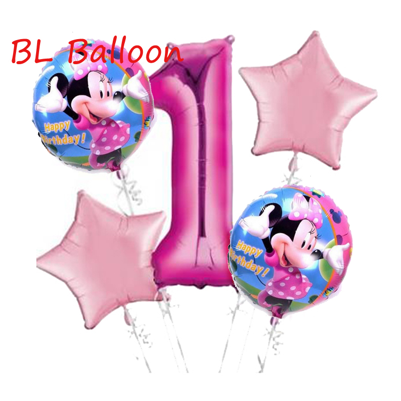 5pcs /lot Minnie Foil Balloons Baby Shower Birthday Party Decorations Kids Classic Toys 32 inch Number Helium Balloon
