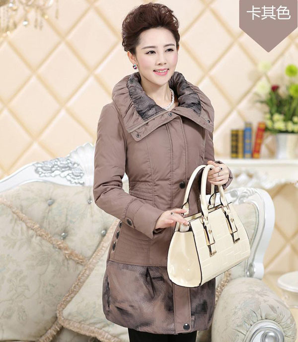 2014 Winter Long Slim Thick Warm Down Coat For Aged Women Fashion White Duck Down Coat Patchwork Parkas Overcoat Jacket H2856