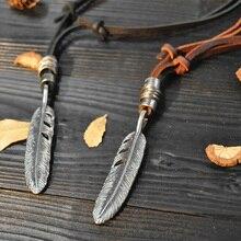 NIUYITID перьевое кожаное ожерелье кулон для мужчин женщин натуральная кожа Веревка Цепь Ювелирные изделия Длинные ожерелья ручной работы