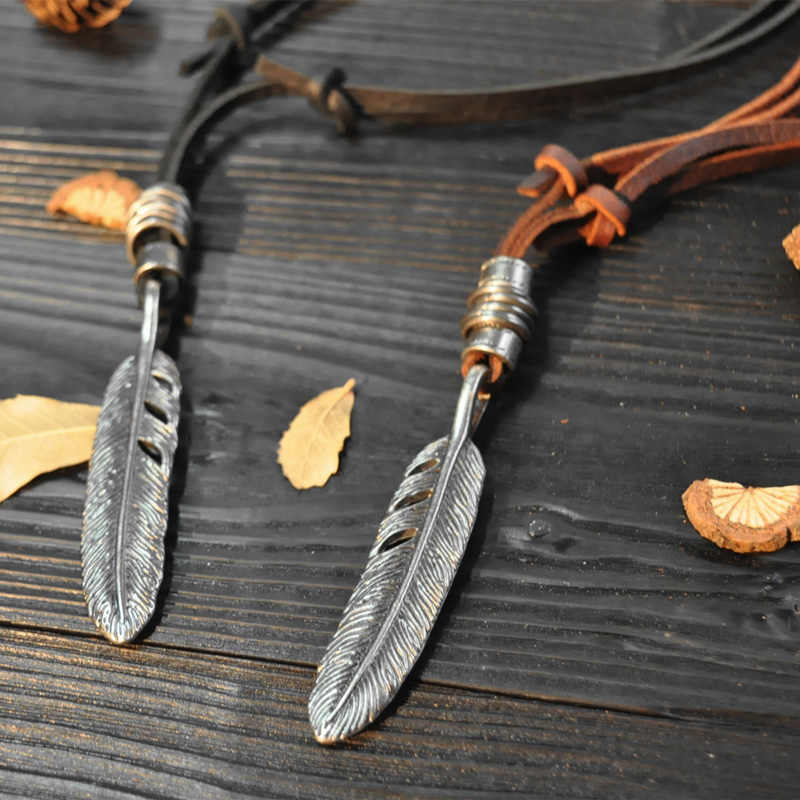 NIUYITID Feather Leather Necklace Pendant For Men Women Genuine Leather Rope Chain Jewelry Long Collares Handmade