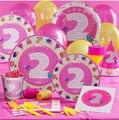 68 Unids PASAYIONE Niña Decoración Fiesta de Cumpleaños de 2 Años de Edad Juego De Papel desechable Para 6 Personas Fuentes Del Partido Y Favores decoración