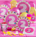 68Pcs PASAYIONE  Baby Girl Birthday Party Decor 2 Years Old Disposable Paper Set For 6 People Party Supplies And Favors Decor