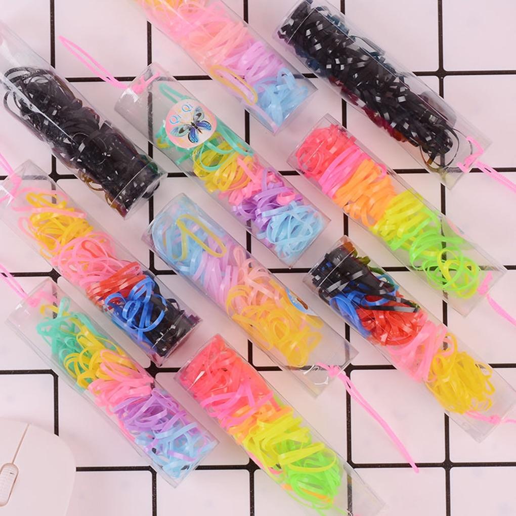 90pcs/lot Baby Girl Disposable Elastics Rubber Hair Bands Children Ponytail Holder Kid Small Ring