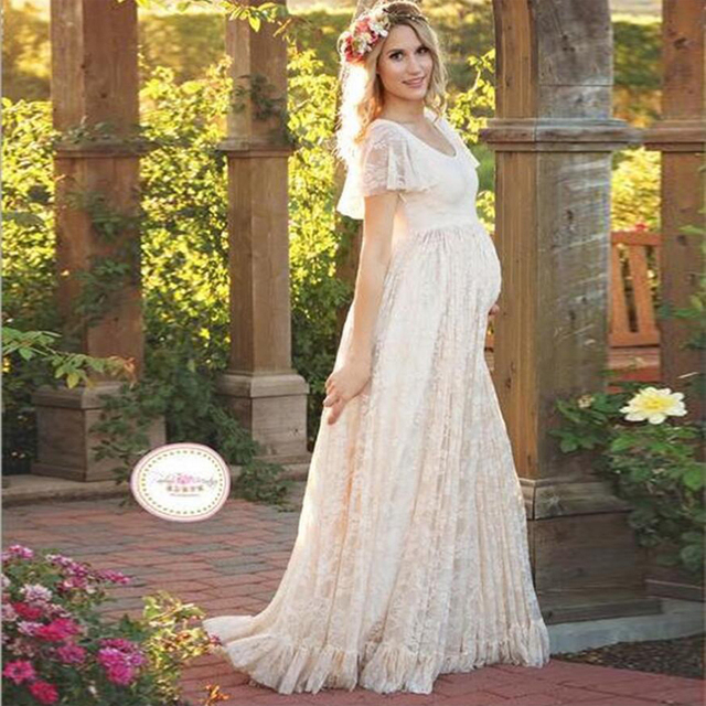 fa109b1a65019 Sweety Lace Maternity Dress Photography Props Pregnancy Photo Shoot Womens Formal  Wear Maternity Gown Long Pregnant Dress Maxi