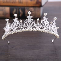 Fashion Rhinestone Pearl Bridal Crown Headband Women Headpiece Floral Wedding Hair Accessories Crystal Bride Hair Jewelry