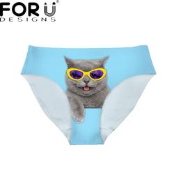 FORUDESIGNS/синий Забавный очки с принтом кота для женщин пикантные трусики для бренд Fit леди бесшовные