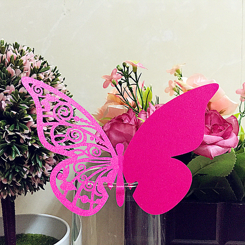 50pcs Laser cut DIY Place Card butterfly Cups Glass Wine Glass Cup Card Wedding Name Cards Escort Card Birthday Party Decoration
