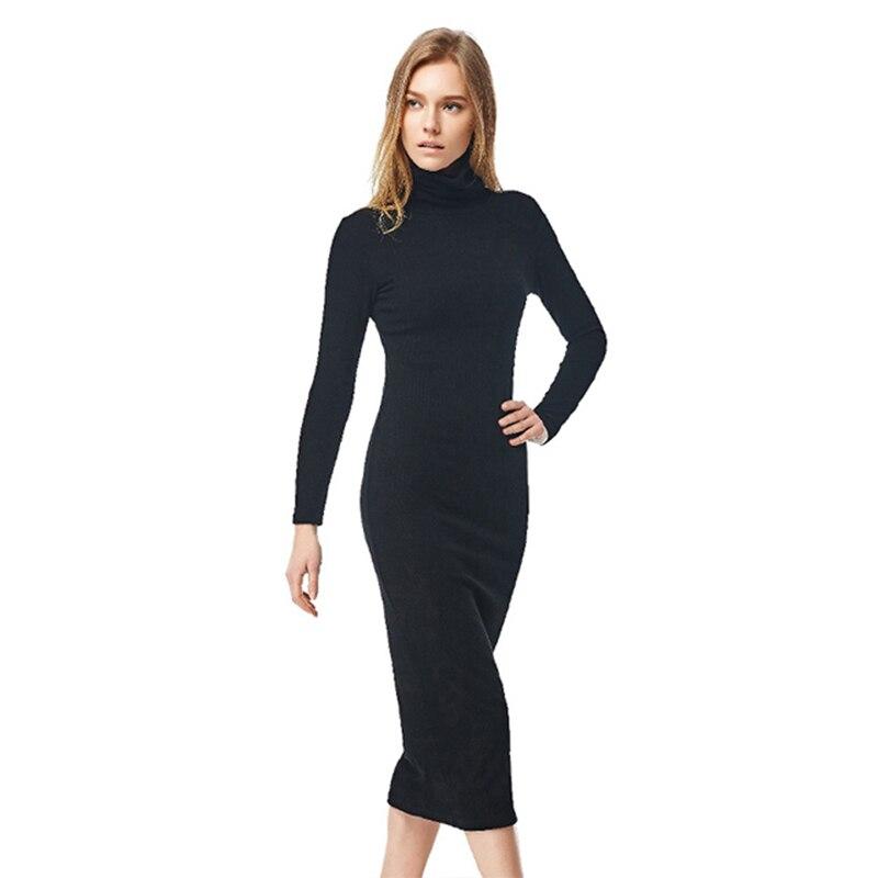 Online kaufen gro handel langarm rollkragen maxi kleid aus for Shein frauen mode