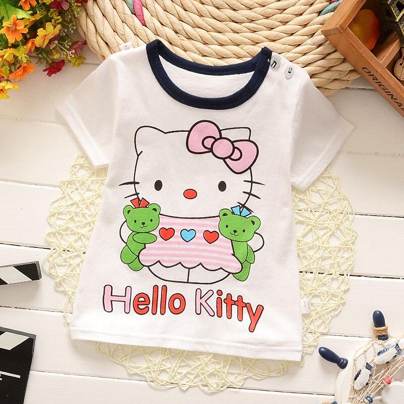Hellokitty dos desenhos animados 100% Algodão de Manga Curta Crianças Meninas Camisetas 2016 Moda Crianças 1-5 Anos Meninas Camiseta Meninas Do Bebê roupas