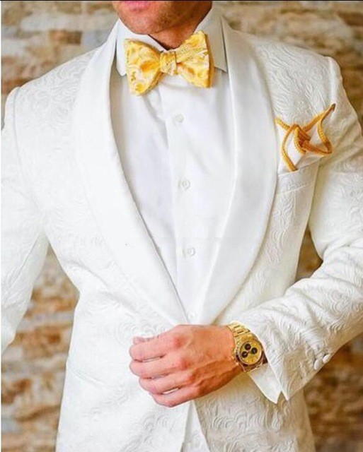 High Quality White Paisley Mens Suits Groom Tuxedos Groomsmen Wedding Party Dinner Best Man Suits (jacket+pants+tie) K:2297