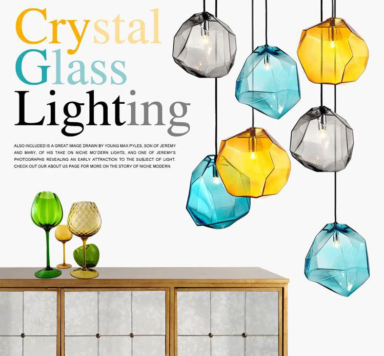 Colorful Crystal Glass Stone Pendant Light By Italy Designer For Dining Room Bar Decor Led G9