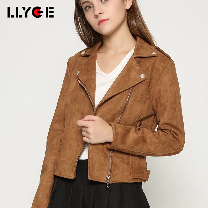 LLYGE Women   Suede     Leather   Slim Jacket 2018 Casual Turn Down Collar Motorcycle Outwear Autumn Female Faux   Leather   Coat Jackets