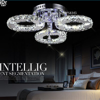 New LED Three Rings Ring Chandeliers Chrome Color Stainless Steel Room Hanging Lamp LED Chandelier Lustres