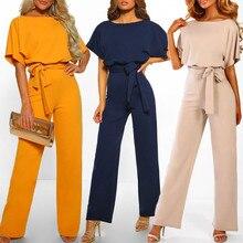 4b013597014 Nuevo Color sólido traje de las mujeres verano Casual de manga corta mono  Clubwear pierna recta mono con cinturón   C