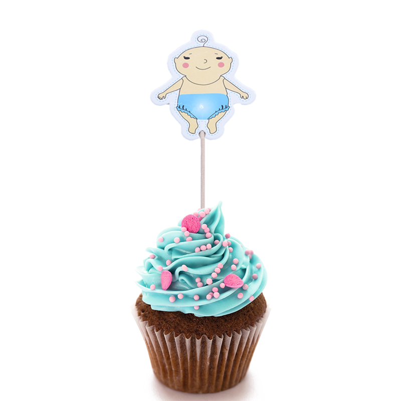Image 4 - 20pcs Baby Shower Cup Cake Toppers Boy&Girl Birthday Party Cute Decoration Baby Shower Birthday Party DIY Cake Topper Supplies-in Cake Decorating Supplies from Home & Garden
