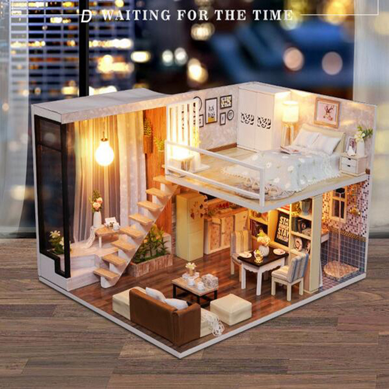 Doll House Furniture Toys for Children Adults DIY Miniature 5 Model Dollhouse Gifts Simulation Modern apartment 24.5x20.5x15.5cm
