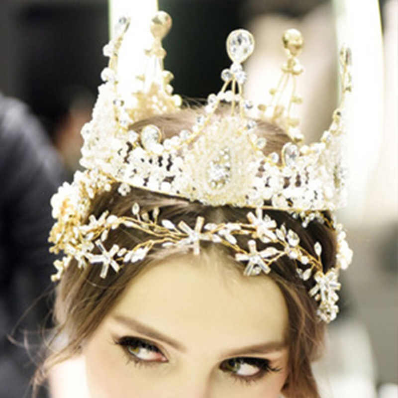 ... StoneFans Handmade Bridal Hair Jewelry Wedding Crown and Tiara Trendy  Rhinestone Queen Round Big Princess Crown ... c5a5a4904445