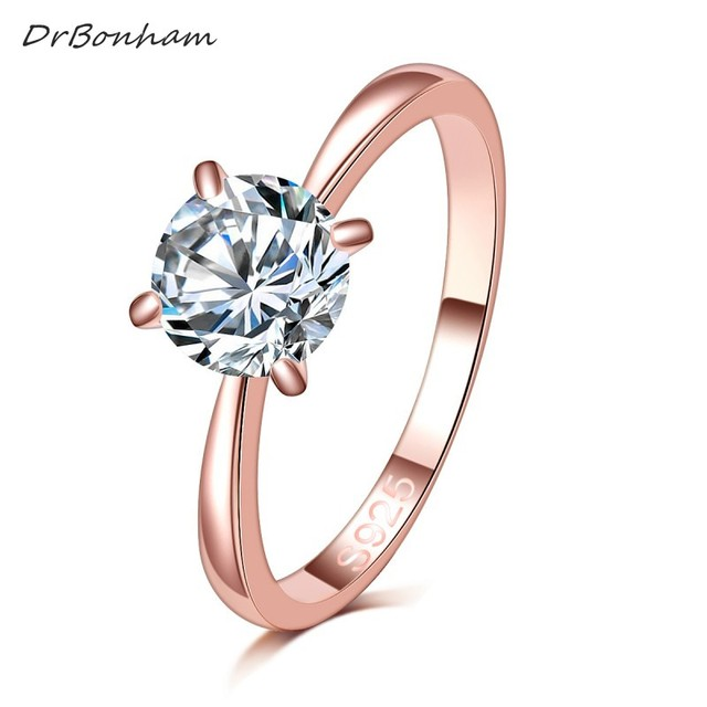 High quality 1.2ct rose gold color large CZ zircon stone rings Top Design 4 pron