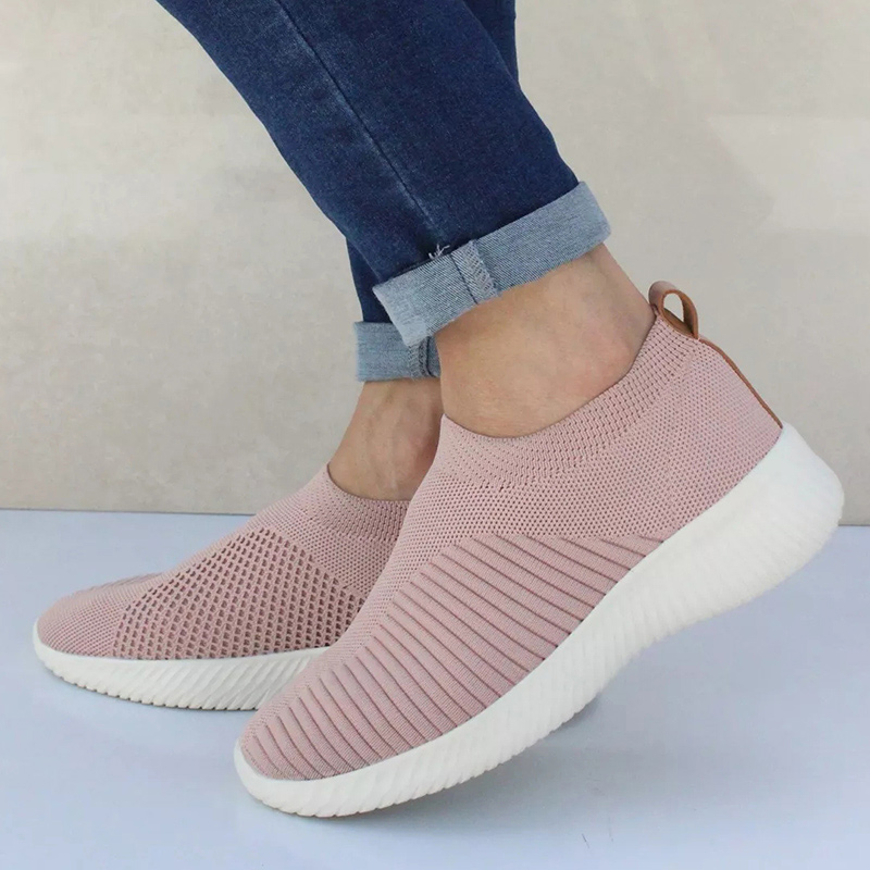 Women Shoes Knitting Sock Sneakers Women Spring Summer Slip On Flat Shoes Women Plus Size Loafers Flats Walking krasovki Famela 5