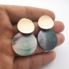 Minimalist Natural Shell Earrings Black Abalone Pendant Irregular Geometric for Women Party Jewelry A634