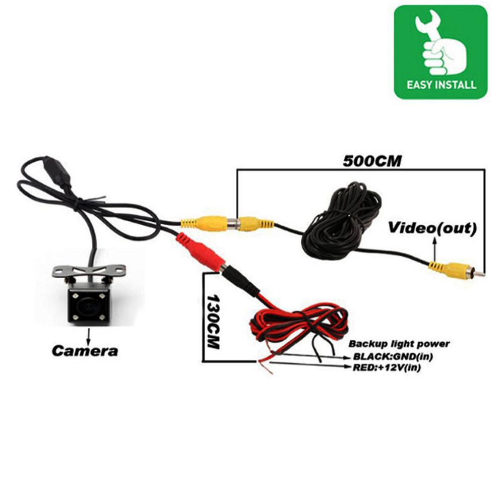 Podofo Car Rear View Camera Universal 4 Led Night Vision Backup Rv Wiring Diagram Effective Pixels 580x540