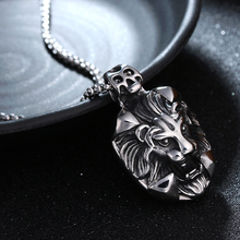 Punk Lion Head Pendant Necklace For Men Luxury 316L Stainless Steel Male Jewelry
