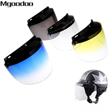 Motorcycle Retro Helmet Shield Lens Capacete Open Face Half Face Helmets Vintage Flight Helmet For 3-snap Visor Sunshade Protect