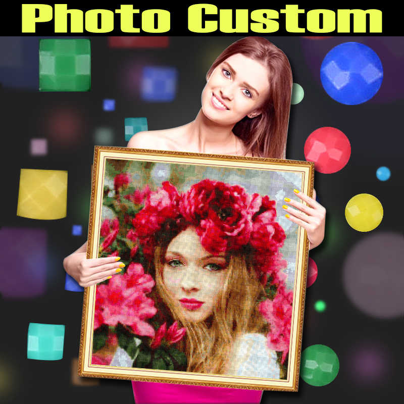 DIAPAI Diamond Painting Photo Custom 5D DIY Picture of Rhinestones Diamond Embroidery 3D Cross Stitch Home Wedding Decoration
