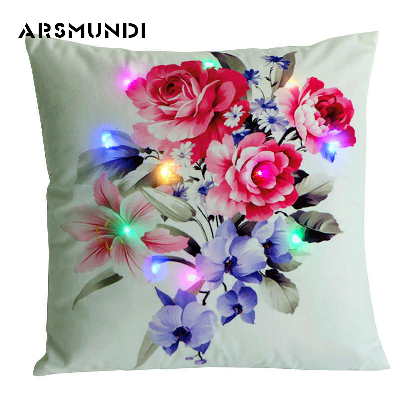 creative printed Led 100% polyester pillowcases decorative home use peony leaves grass cactus pillow cases