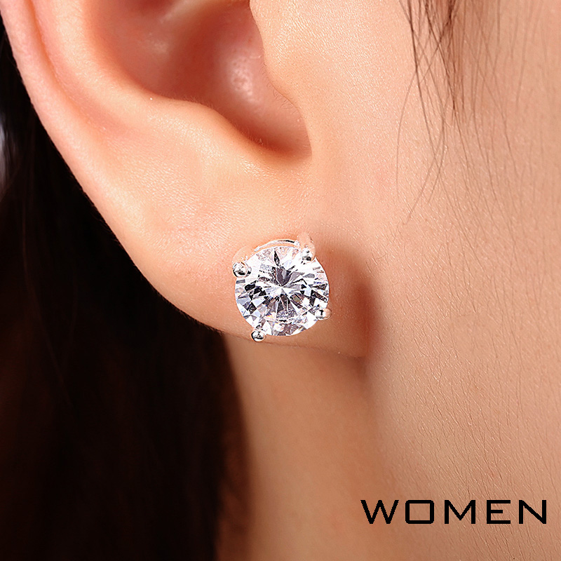 COLORFISH Luxury 2 Ct Putaran AAA Cubic Zircon Stud Earring Wanita pria Nyata 925 Sterling Silver Mode Big Batu Stud Earring